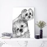 Dogs Caricature Drawing on Canvas