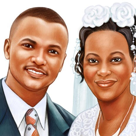 Wedding Portrait Drawing in Colored Pencils Style - example