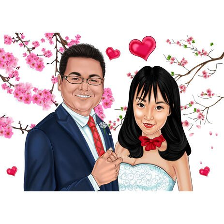 Sakura Blossom - Couple Wedding Cartoon Portrait in Colored Style from Photos - example