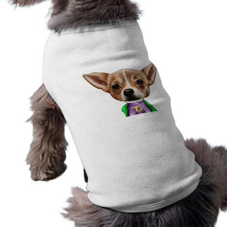 Dog Caricature from Photos Printed as Pet Shirt - example