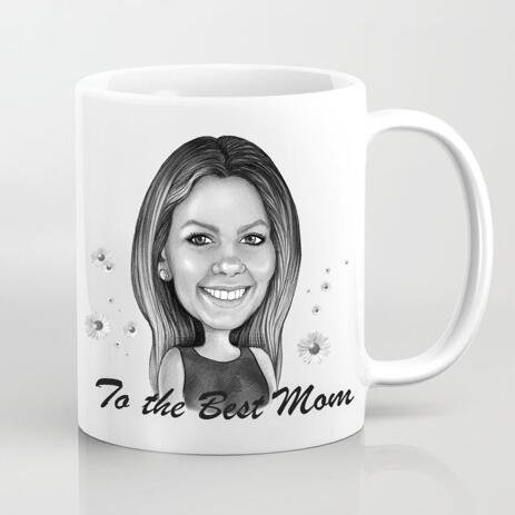 Photo Print on Mug: Custom Cartoon Drawing in Mother's Day Theme - example