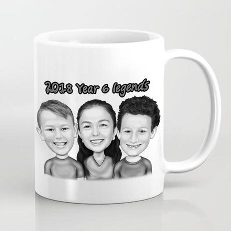Children Caricature Printed on Mug - example