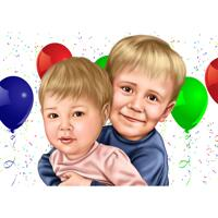 Kids Birthday Caricature Gift in Color Style from Photos