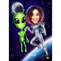 Person och främmande karikatyr i färgstil med rymdbakgrund