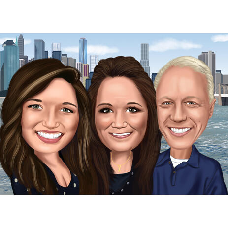 Group Caricature of Three Persons in Colored Style with Custom Background - example