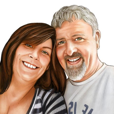 Couple Portrait Drawing From Photo in Colored Pencils Style - example