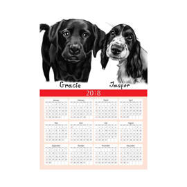 Dogs Caricature Drawing on Calendar