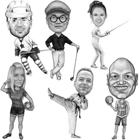 Caricatura sportiva per tutto il corpo da foto in stile bianco e nero - example