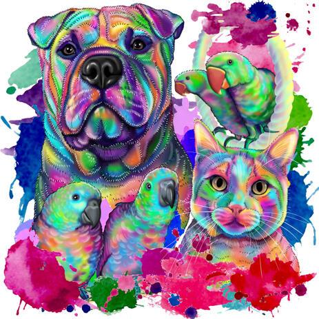 Собака с кошкой и птицами - Смешанный карикатурный портрет питомца в акварельном стиле по фотографиям - example