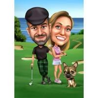 Coppia con ritratto di caricatura di golf da compagnia da foto per regalo di giocatori di golf