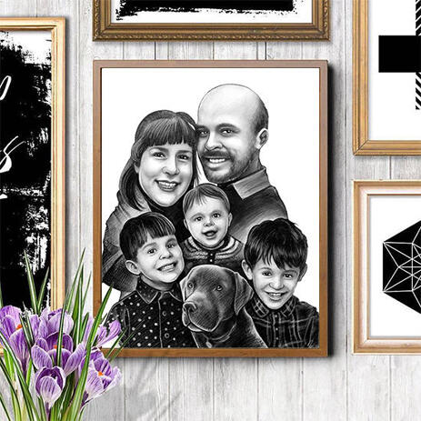 Family with Dog Cartoon from Photos Printed on Poster - example
