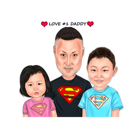 Father with Two Kids Cartoon Drawing from Photos in Colored Style - example