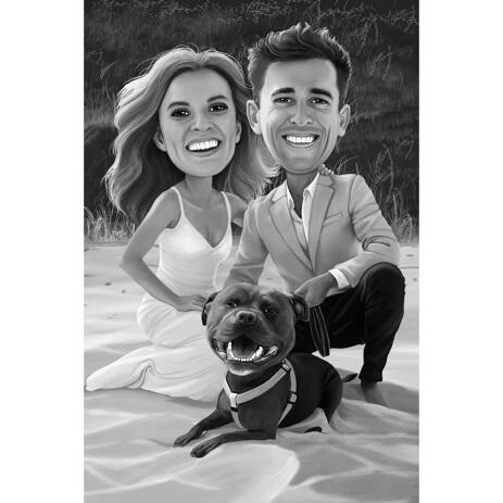 Bride and Groom with Pet Portrait in Black and White Style - example