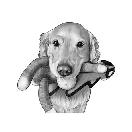 Cute Labrador with Pet Toy Caricature Portrait from Photo in Black and White - example