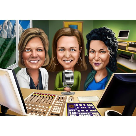 Group Recording Studio Caricature in Color Style with Custom Background - example