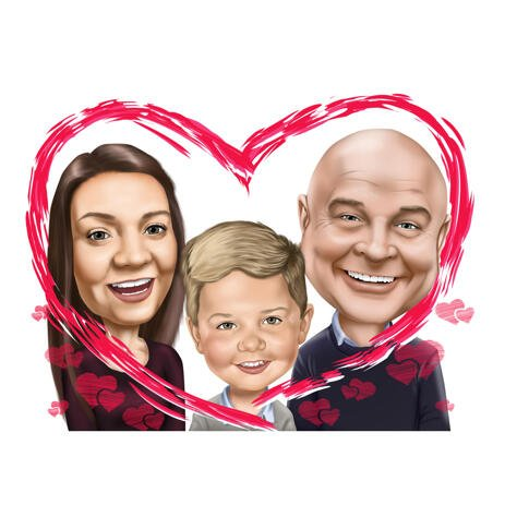 Couple with Child Colored Style Caricature Cartoon from Photos for Custom Gift - example