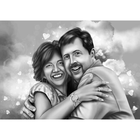 Couple in Love Portrait in Black and White Style from Photos - example