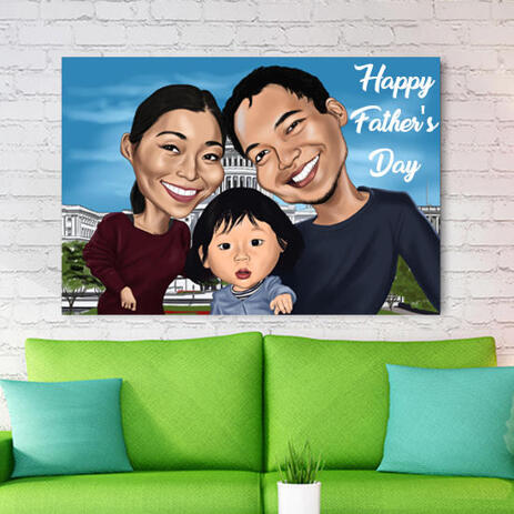 Custom Print on Canvas: Colored Cartoon of Family on Father's Day - example