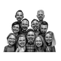 Large Family Group Caricature in Black and White Style from Photos