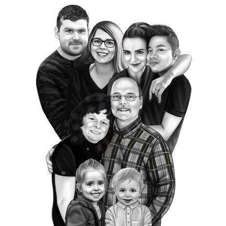 Fotoğraflar'dan kalemler tarzında aile portre karikatür - example