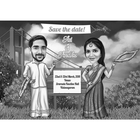 Indian Bollywood Save the Date Caricature in Black and White Style - example