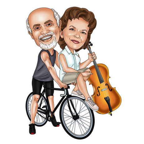Couple on Bicycle Caricature Portrait for Gift - example