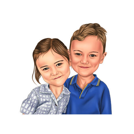 Cute Boy and Girl Kids Cartoon Drawing from Photos in Color Style - example