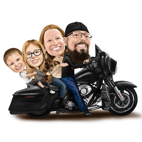 Family with Dog on Motorcycle - Biker Cartoons Drawing in Colored Style - example