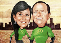 Super-héros Couple Caricature example 23