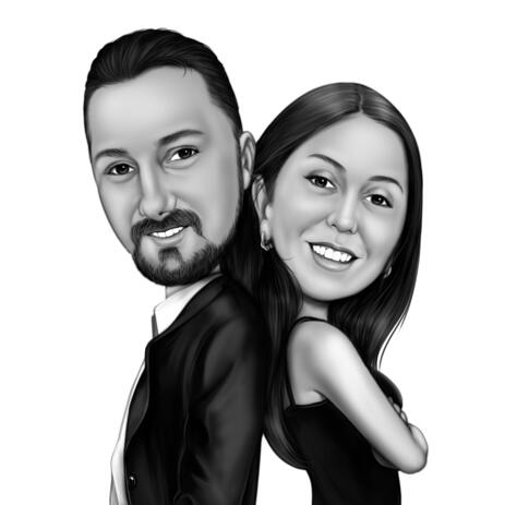 Back to Back Couple Caricature in Black and White Style from Photos - example