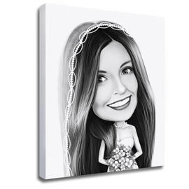 Bride Caricature from Photos on Canvas