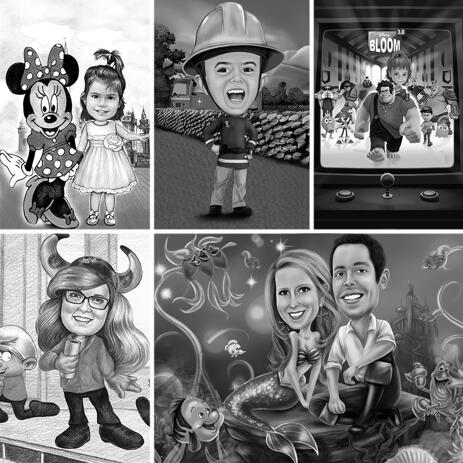 Black and White Full Body Cartoon Caricature as Any Favorite Character with Background - example