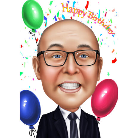 Caricature for Businessman in Color Style for Birthday Gift - example