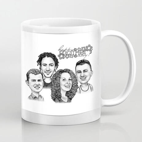 Caricature on Mug: Family Cartoon Portrait in Black and White Style from Photos for Mom Gift - example
