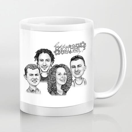 Caricatura en taza: retrato de dibujos animados familiar en estilo blanco y negro de fotos para regalo de mamá - example