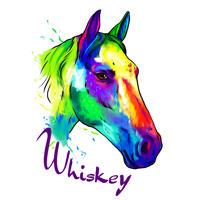 Karikatuurportret van het paard van foto's in Neon Rainbow-aquarelstijl