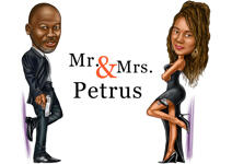 Mr. & Mrs. Couple Caricature example 2