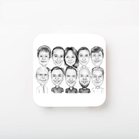 Business Logo Caricature on Photo coasters - example