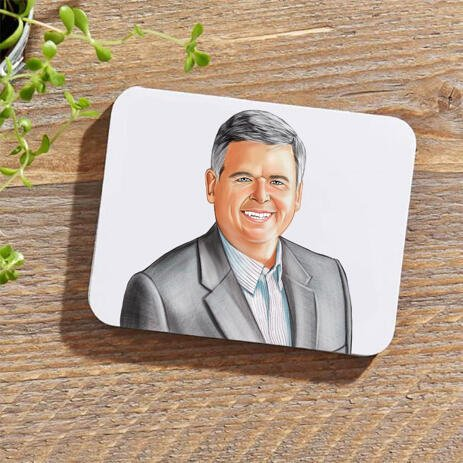 Business Portrait on Photo coasters - example