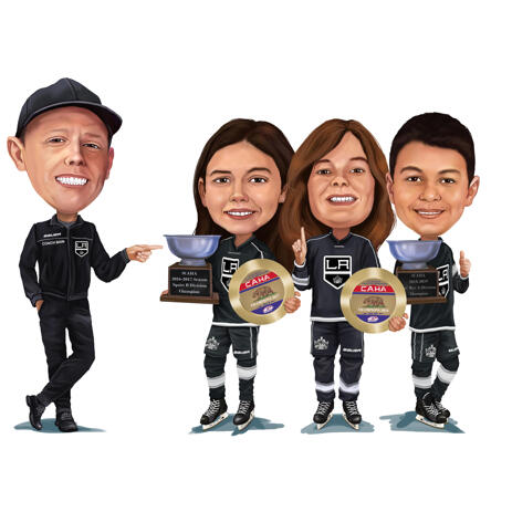 Hockey Championship Winners with Coach - Custom Caricature from Photos - example