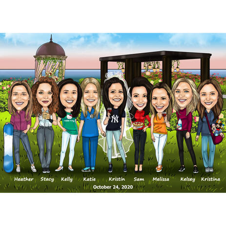 Bridesmaids Caricature Gift with Personalized Hobbies and Writting - example