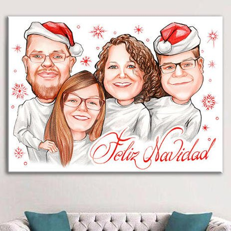 Christmas Family Caricature on Canvas for Custom Gift - example