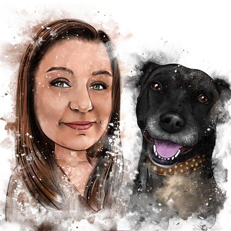 Акварельная карикатура хозяина с собакой в натуральных тонах - example