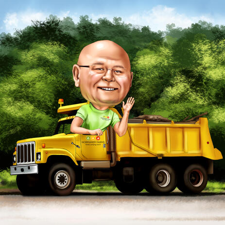 Man in Dump Truck Cartoon Drawing in Colored Style with Personalized Background - example