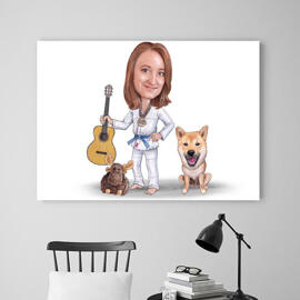 Master and Dog Caricature as Canvas
