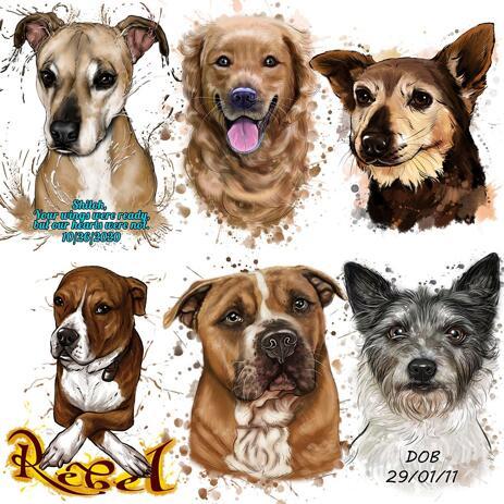 Aquarel hondenportret in natuurlijke kleuren van foto's - example