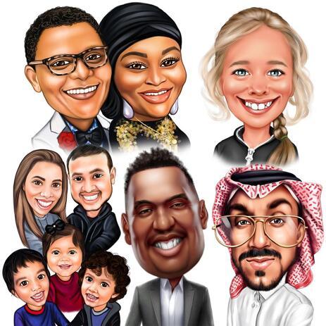 Caricatura de cabeza y hombros de fotos en estilo coloreado - example