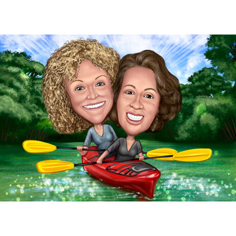 Two Persons Canoe Funny Cartoon Caricature Drawing from Photos - example