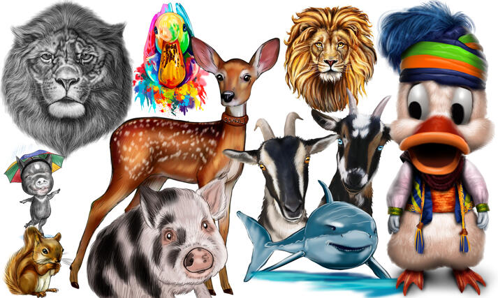 Animals Caricatures large example