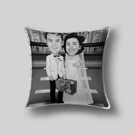 Bride and Groom Caricature on Pillow - example